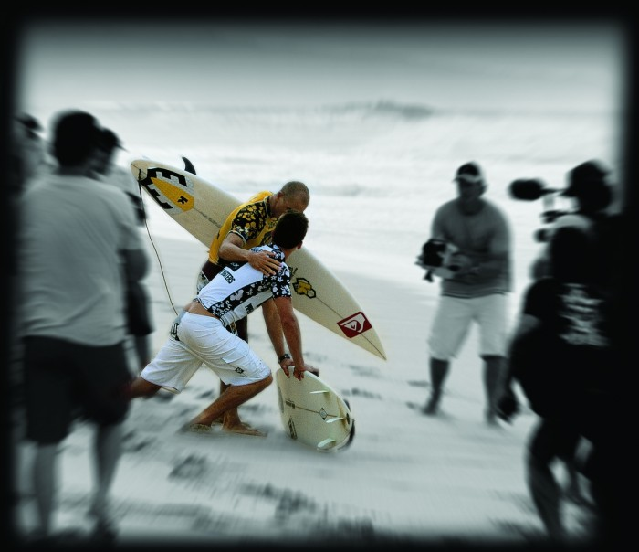 A moment between The Champ and A.I. on the North Shore in 2003.