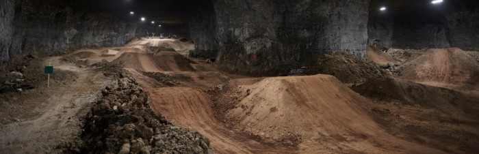 The Underground Mega Bike Park boasts 320,000 square foot of terrain and  45 different tracks. PHOTO: Louisville Mega Cavern