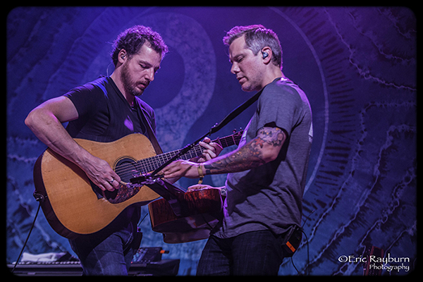 The Infamous Stringdusters' Andy Falco duels with Andy Hall. PHOTO: Eric Rayburn